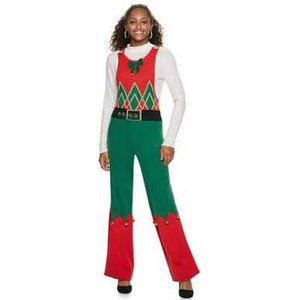 Ugly Christmas Jingle Bell Flare Sweater Overalls